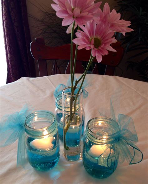 bridal shower table decorations with jars wedding or baby shower table decorations jar with 1 2 filled with water 1 drop food