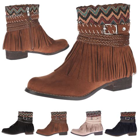 womens boots ankle fringed tassel low heels cowboy