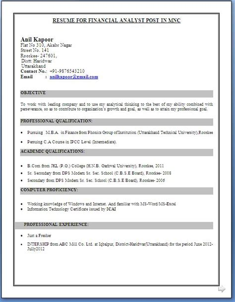 b e fresher resume format in word document ca inter resume format