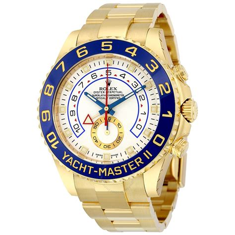 rolex yacht master ii white dial  yellow gold oyster