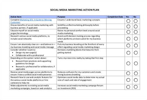 marketing action plan template social media marketing