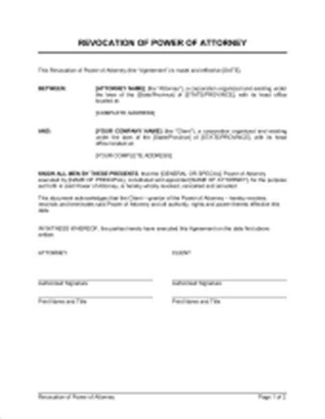notice of revocation of authority template sle form