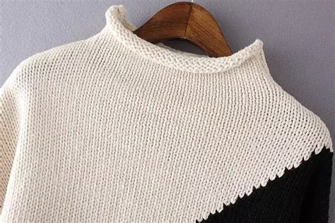 how to block a sweater after knitting colour block high neck knit sweater shein sheinside