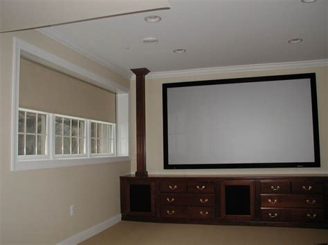 Home Cinema Blackout Blinds blackout shades contemporary home theater orange