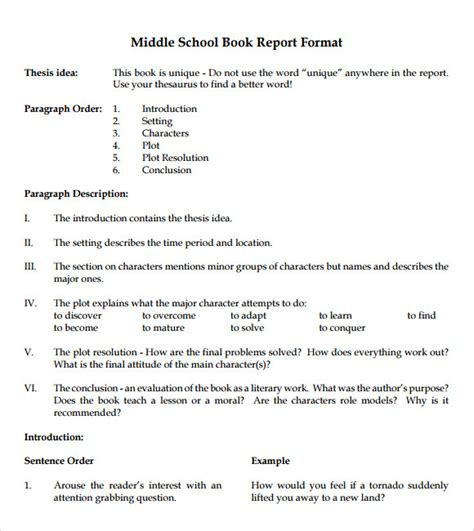 book report middle school 9 book report templates free sles exles format