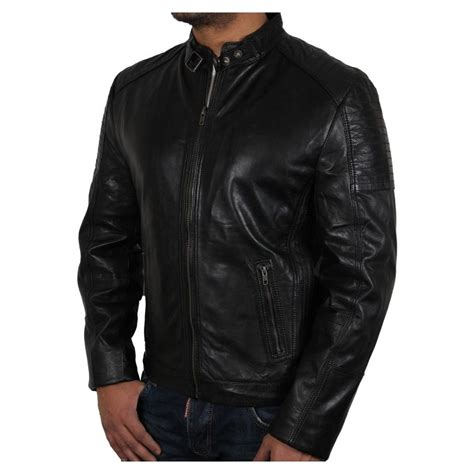 mens black leather motorcycle jacket men s black leather biker jacket eastwood