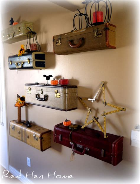 diy idea turn vintage suitcases into a unique shelf wall
