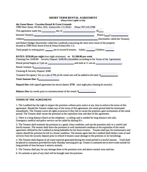 weekly rental agreement template 8 vacation rental agreements free sle exle format