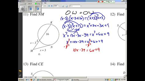 Segment Lengths In Circles Worksheet Answers by Segment Lengths In Circles 2