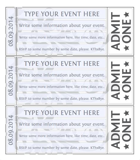 event ticket layout 7 best images of event ticket template printable free