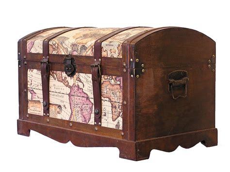 Victorian Old World Map Medium Wood Storage Trunk Wooden