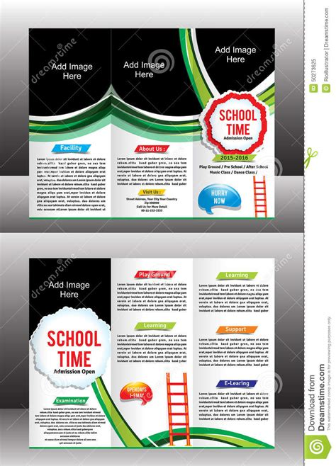 tri fold school brochure template tri fold school brochure template stock vector image