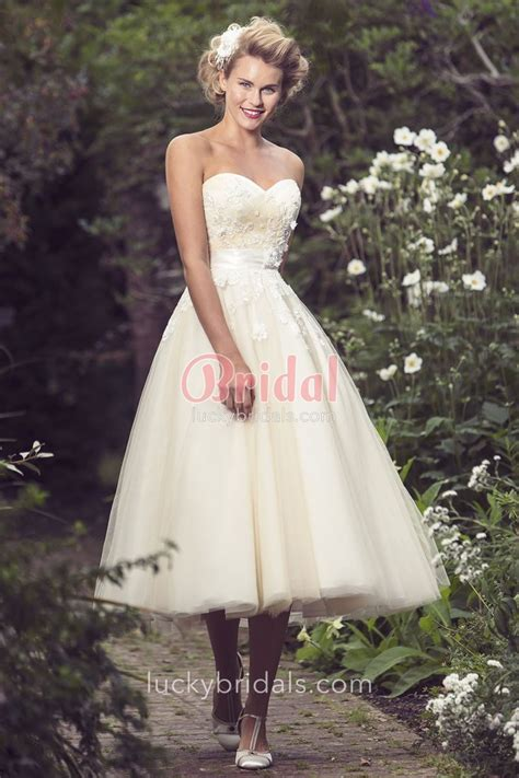 strapless sweetheart tea length vintage ball gown tulle