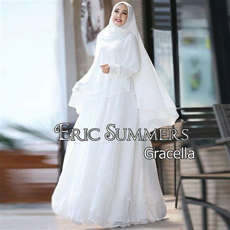 Gamis Pesta White gracella white baju muslim gamis modern