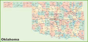 state map of showing cities road map of oklahoma with cities