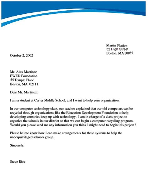 letter writing formal formal letter template