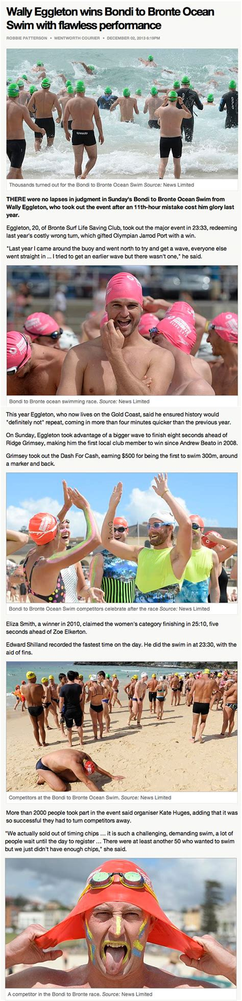sunday telegraph sports section event media macquarie bondi to bronte ocean swim sydney