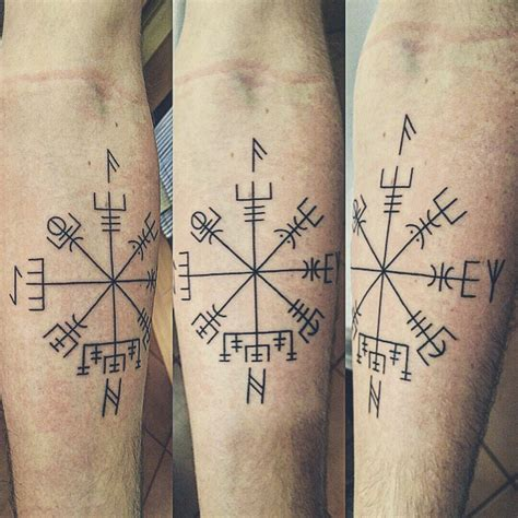 first tattoo vegvisir w ansuz algiz hagalaz and
