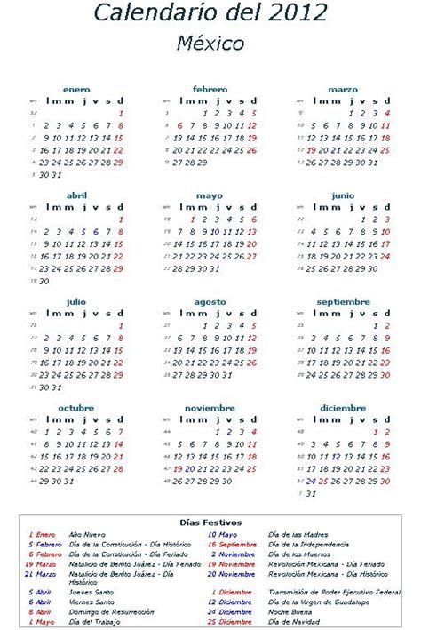 Calendario 2012 Mexico Dias Festivos 2012 La Economia