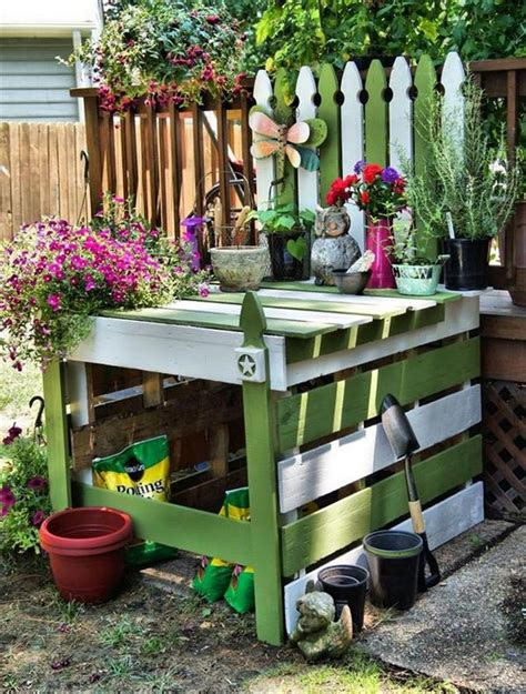 garden potting bench ideas pallet wood potting bench plans recycled things