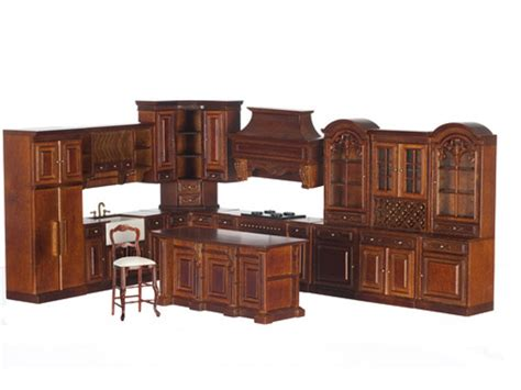 dolls house kitchen furniture dolls house walnut fitted kitchen furniture set platinum