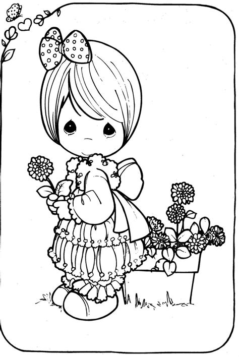 Drawing Girl Precious Moments In Black And White To Color Coloring Pages Precious Moments