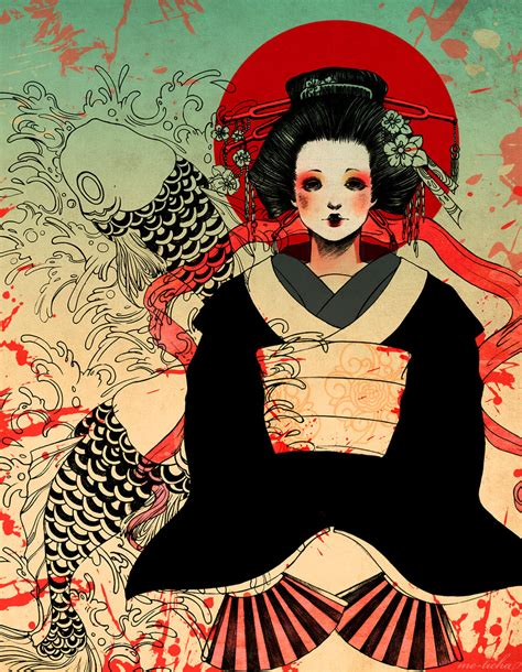 japanese geisha drawings geisha by me ticha on deviantart