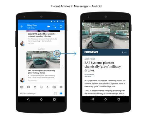 android ia les instant articles arrivent dans messenger tech numerama