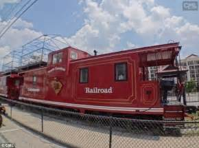 Football Chandelier Refurbished Train Cars Used For Railgating At The