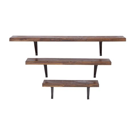 woodland imports 92602 metal and wood wall shelves set of