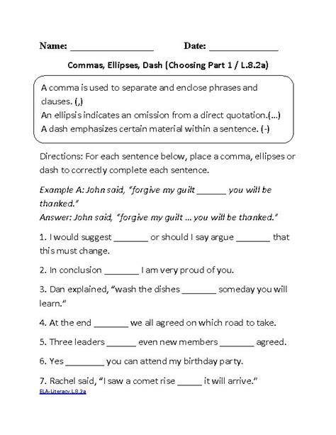 8th Grade Worksheets