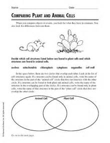 comparing plant and animal cells worksheet lesson planet
