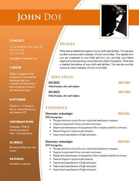 Cv Templates For Word Doc 632 638 Free Cv Template Dot Org Resume Template Word With Photo