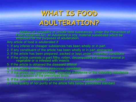 what is in food what is food adulteration