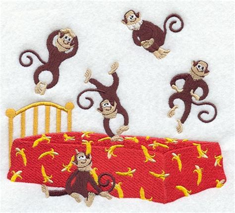 2 little monkeys jumping on the bed machine embroidery designs at embroidery library new