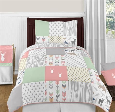 mint twin bedding coral mint and grey woodsy deer 4pc twin girl bedding set