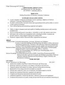 Laboratory Technician Assistant Sle Resume by Lab Technician Resume 2015