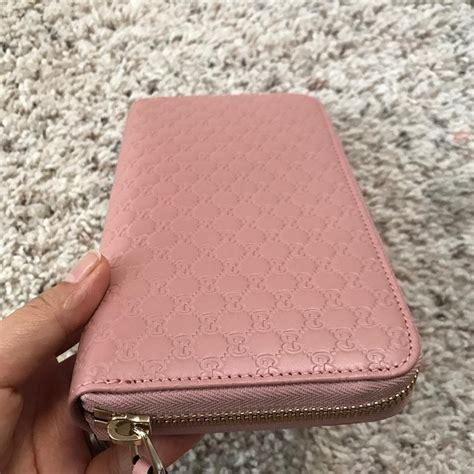 Dompet Gucci Guccisima Woc Soft Pink Original gucci soft pink leather micro gg guccissima zip wallet tradesy