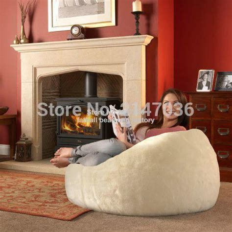bean bag living room long fur beige beanbag chaise lounge cover extra large