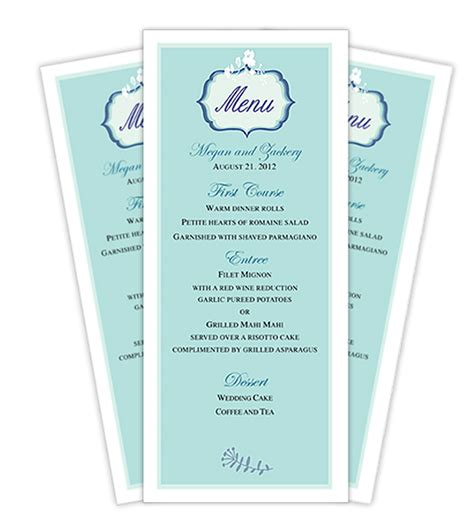 menu cards template wedding reception wedding menu card template