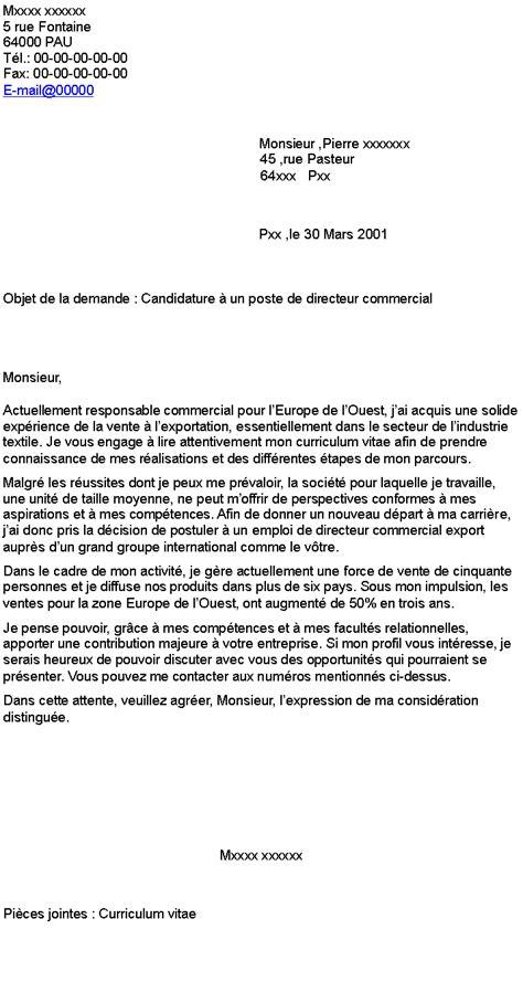 Lettre De Motivation Responsable De Zone Export Candidature 224 Un Poste De Directeur Commercial