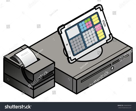 Pos Drawer And Printer by Tabletbased Pos Point Sale Setup Stock Vector