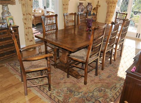 farmhouse kitchen table and chairs farmhouse kitchen refectory table spindleback chair set dining