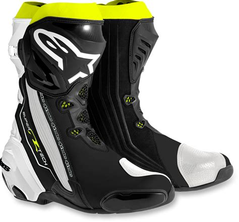 motorcycle road racing boots mens alpinestars supertech r textile black white yellow