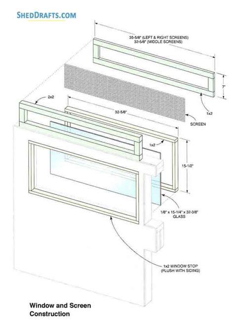 lean  storage shed plans blueprints  set