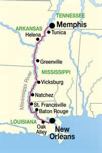 Map Memphis To New Orleans by Mississippi River Music Cruises