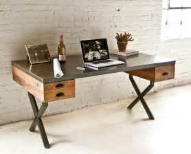 reclaimed wood office desk steel and reclaimed wood walter desk by richard velloso