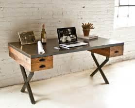 reclaimed wood desks steel and reclaimed wood walter desk by richard velloso