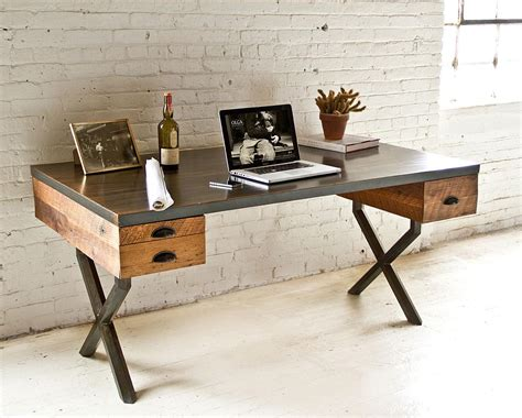 wood and steel desk reclaimed wood and desk made by wood