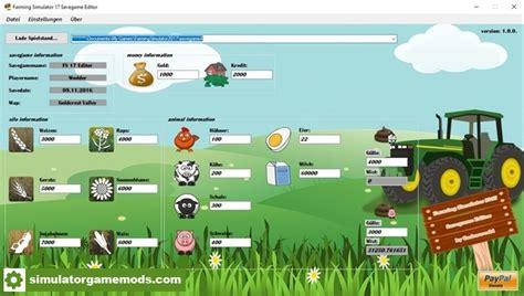 how to mod game center scores fs17 savegame editor v 1 simulator games mods download